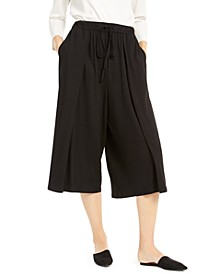 Pleated Cropped Drawstring Pants