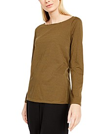 Striped Ballet-Neck High-Low Top
