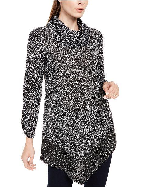 NY Collection Petite Cowlneck V-Hem Sweater