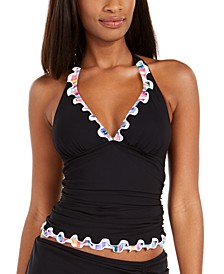 Tricolore Ruffled Halter Tummy-Control Tankini Top, Created for Macy's