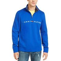 Macys deals on Tommy Hilfiger Mens Logo French Rib Quarter-Zip Pullover