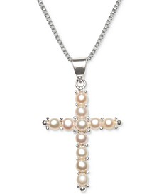 "Cultured Freshwater Pearl (3-1/2mm) Cross 18"" Pendant Necklace in Sterling Silver"