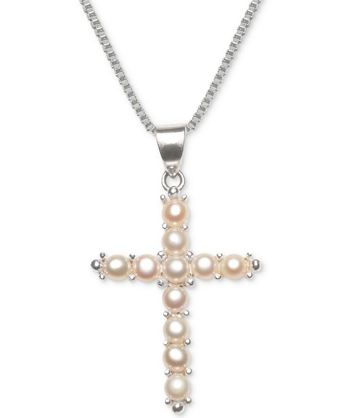 """Macy's - Cultured Freshwater Pearl (3-1/2mm) Cross 18"""" Pendant Necklace in Sterling Silver"""