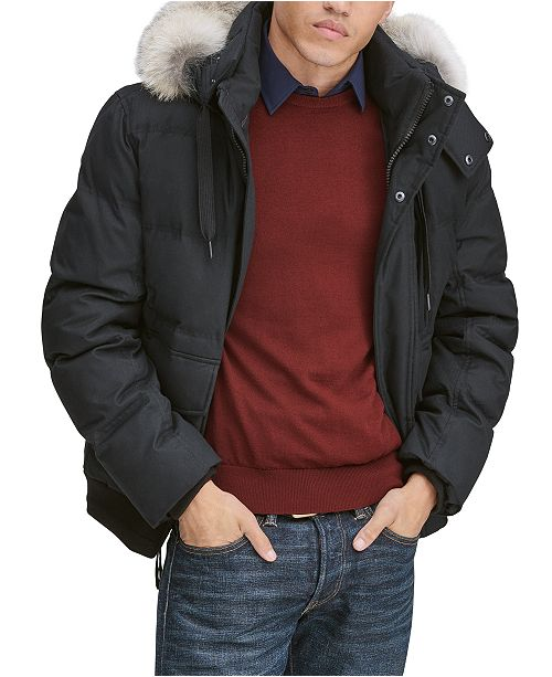Marc New York Men's Bohlen Down Bomber Jacket with Coyote Trim Hood