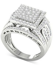 Diamond Square Cluster Ring (1-3/4 ct. t.w.) in 10k White Gold