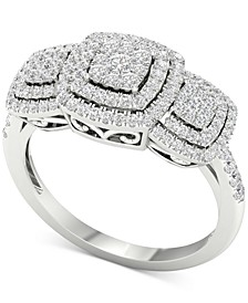 Diamond Triple Halo Cluster Statement Ring (1/2 ct. t.w.) in 10k White Gold
