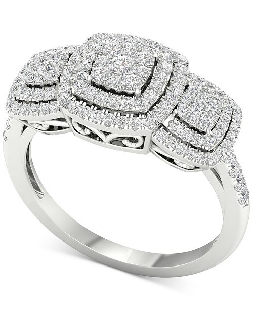 Macy's Diamond Triple Halo Cluster Statement Ring (1/2 ct. t.w.) in 10k White Gold