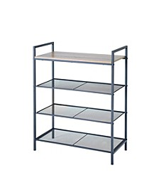 4-Tier Shelf Storage Unit with Wood Top