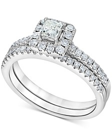 Diamond Square Halo Bridal Set (3/4 ct. t.w.) in 14k White Gold