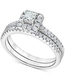 Diamond Square Halo Bridal Set (3/4 ct. t.w.) in 14k White Gold