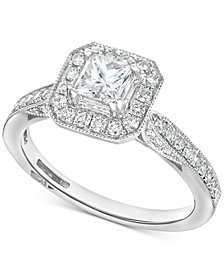 Diamond Princess Square Halo Engagement Ring (7/8 ct. t.w.) in 14k White Gold