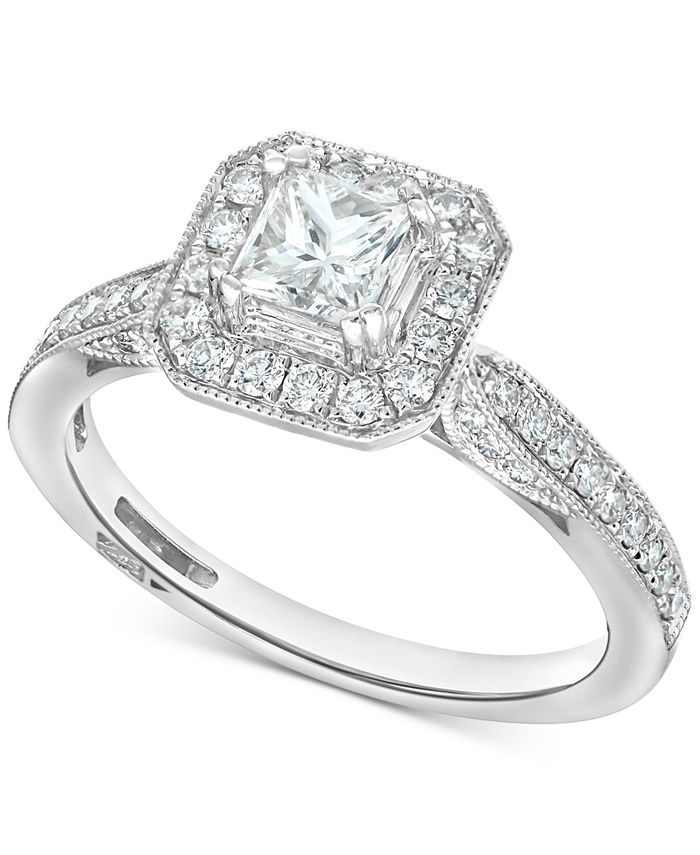Macy's - Diamond Princess Square Halo Engagement Ring (7/8 ct. t.w.) in 14k White Gold