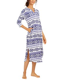 Stretch Velour Fair-Isle-Print Nightgown