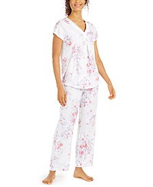 Women's Floral-Print Knit Pajama Set