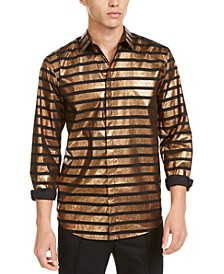 INC Men's Metallic Striped Shirt, Created For Macy's
