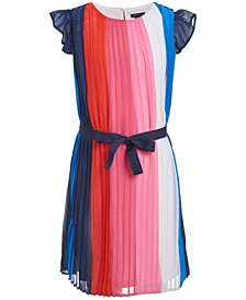 Little Girls Pleated Striped Dress