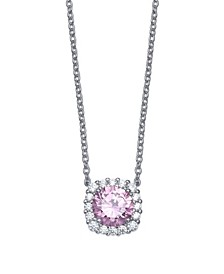 Multi Colored Cubic Zirconia Cushion Shape Pendant Necklace in Sterling Silver