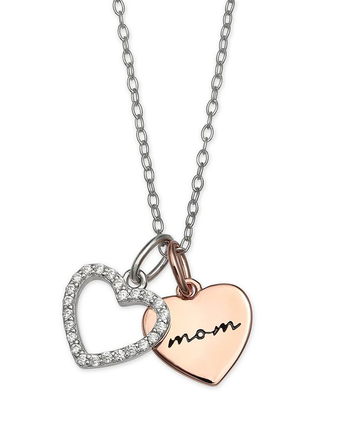 """Giani Bernini - Cubic Zirconia Mom Heart Pendant 18"""" Necklace in Sterling Silver and 18k Rose Gold Over Sterling Silver"""