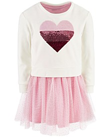 Little Girls 2-Pc. Sequin Heart Sweatshirt & Tutu Dress, Created For Macy's