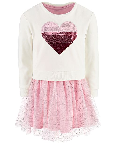 Epic Threads Little Girls 2-Pc. Sequin Heart Sweatshirt & Tutu Dress, Created For Macy's