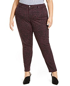 Plus Size Curvy-Fit Tummy-Control Printed Jeans, Created For Macy's