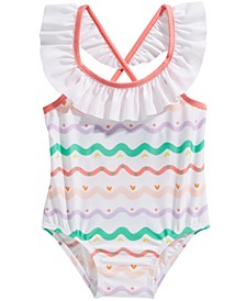 Baby Girls 1-Pc. Wave-Striped Swimsuit, Created For Macy's