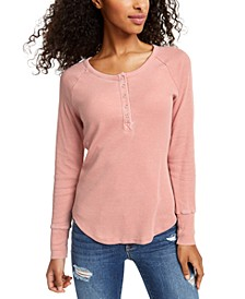 Juniors' Burnout Thermal Henley Top