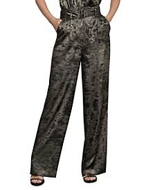 Metallic Belted Wide-Leg Pants