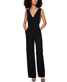 Contrast-Piping Jumpsuit