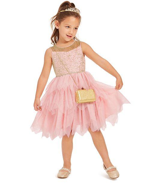 Rare Editions Little Girls Glitter Tiered-Mesh Dress