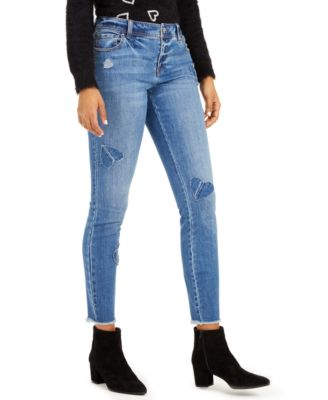 INC Heart-Patch Skinny Jeans, Created For Macy's