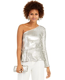 INC One-Shoulder Sequined Peplum Top, Created for Macy's