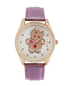 Women's Gingerbread Swing Dial Pink Glitter Effect Leather Strap Watch 40Mm