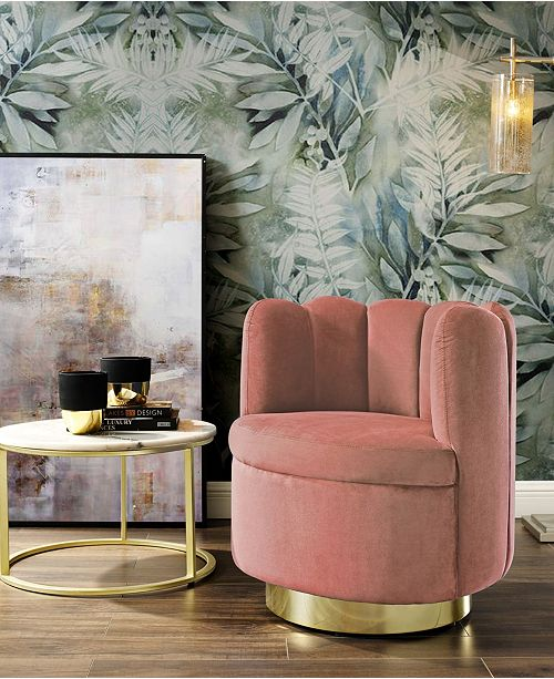 Nicole Miller Ragland Velvet Tufted Accent Chair with Swivel Metal Base