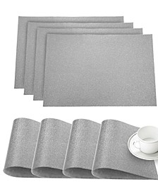 "Faux Leather Pebble Slip Resistant Suede Backing Embossed 3D Surface Luxury 12"" x 18"" Place Mats - Set of 4"