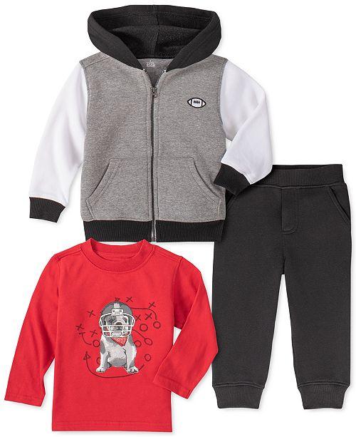 Kids Headquarters Baby Boys 3-Pc. Zip-Up Hoodie, Dog-Print T-Shirt & Jogger Pants
