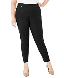 Plus Size Side-Stripe Pull-On Pants
