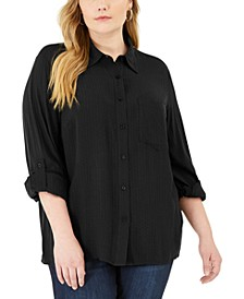Plus Size Textured Tunic Shirt