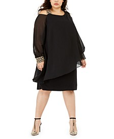 Plus Size Cold-Shoulder Overlay Shift Dress