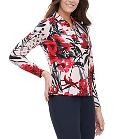 Floral Button-Up Collared Blouse