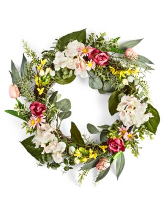 English Garden Mixed Floral & Fern Artificial Wreath, Created for Macy's