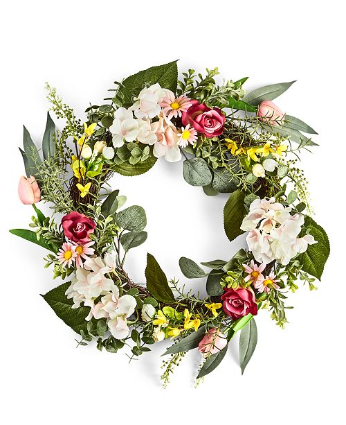 Martha Stewart Collection English Garden Mixed Floral & Fern Artificial Wreath, Created For Macy's