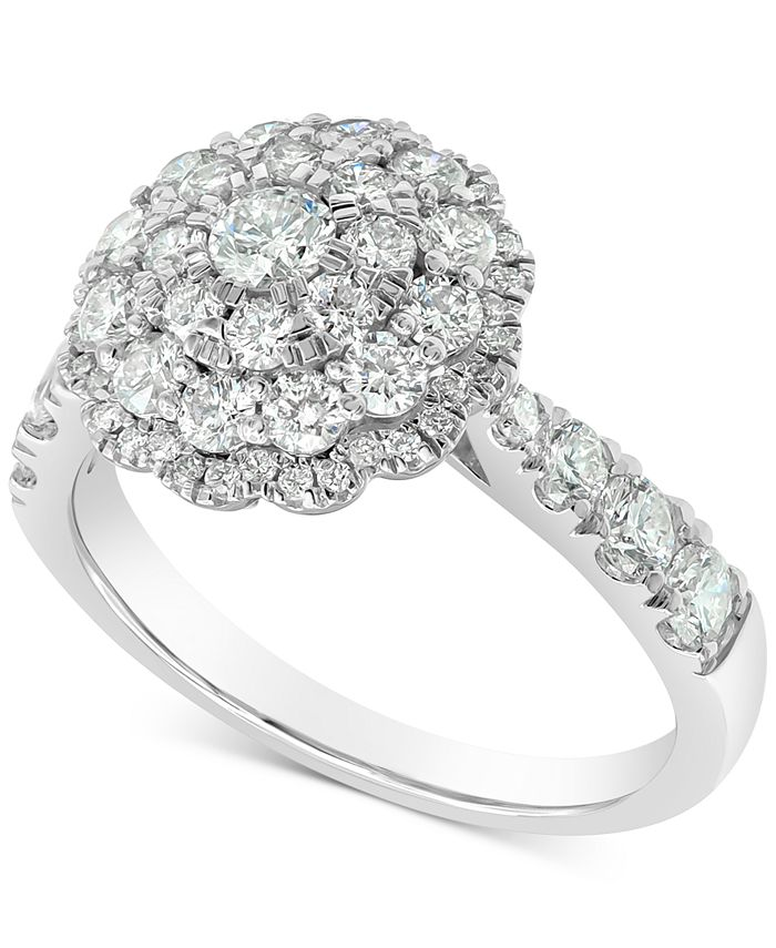 Marchesa - Round Cluster Ring (1-1/2 ct. t.w.) in 18k White Gold