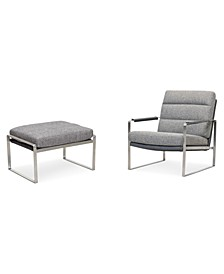 "Mattley 28"" Fabric Steel Frame Chair and 26"" Steel Frame Ottoman Set, Created for Macy's"