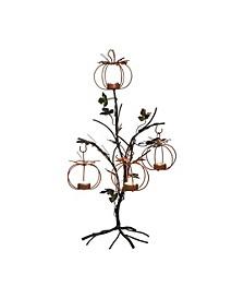 Metal Black Harvest Leaf Tealight Holder Tree