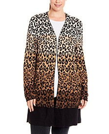 Plus Size Dip-Dye Animal-Print Cardigan