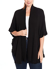Plus Size Ruffled Open-Front Poncho