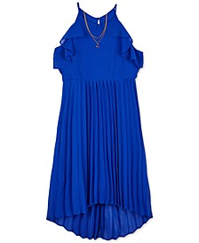 Big Girls Pleated High-Low Necklace Dress