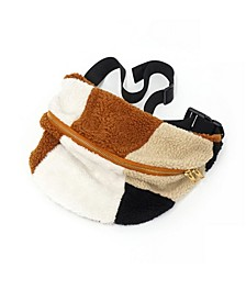 Faux Sherpa Belt Bag Patchwork Style