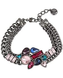 Hematite-Tone Multi-Crystal Cluster Double-Row Link Bracelet